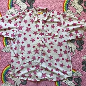 Vintage 80s Star Print Button Up